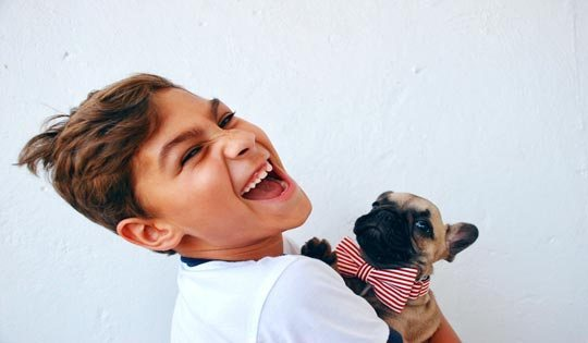 child and pug dog