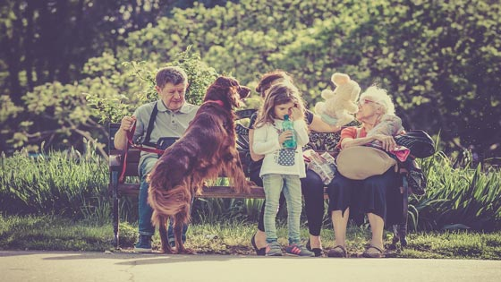 family with dog in park