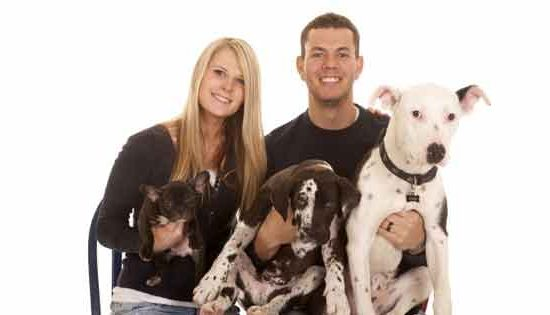 dog with owners
